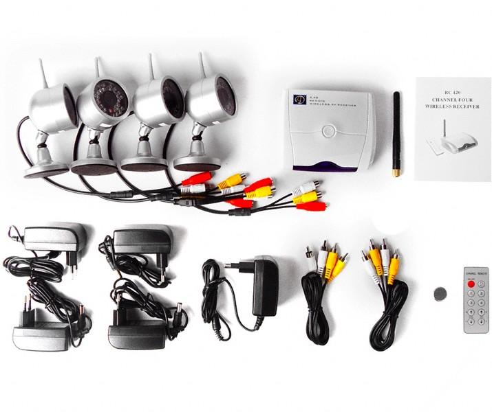 pack 4 mini cam ras surveillance sans fil infrarouge 2 4ghz. Black Bedroom Furniture Sets. Home Design Ideas