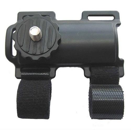 Fixation camera pour tube a sangler.