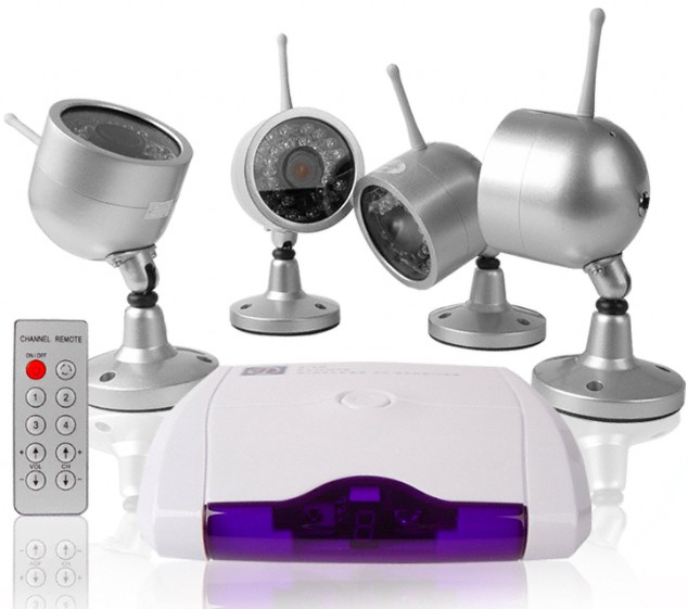 Pack 4 mini cam�ras surveillance sans fil INFRAROUGE 2.4Ghz